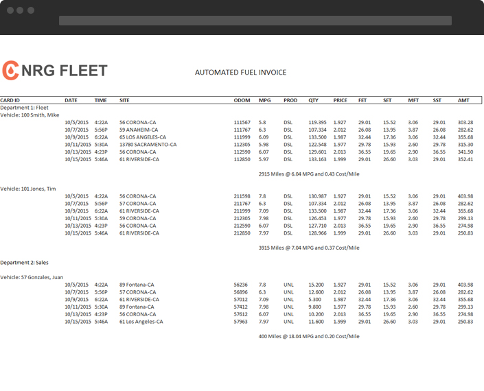 automated fuel invoice